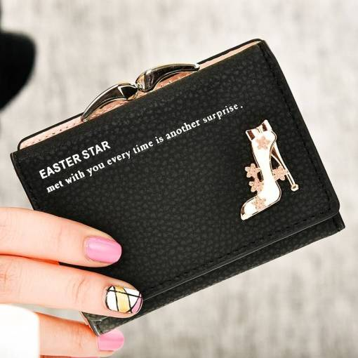 2018 New brand short women's wallet high quality guarantee designer's high-heeled shoes hasp purse for lady free shipping Women Women's Bags Women's Wallets