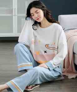 Autumn Winter Cotton Cartoon Pajamas Set Women Pyjamas Homewear Long sleeve Sleepwear Plus size Loose Night suit Female Pijama Women's Pajamas