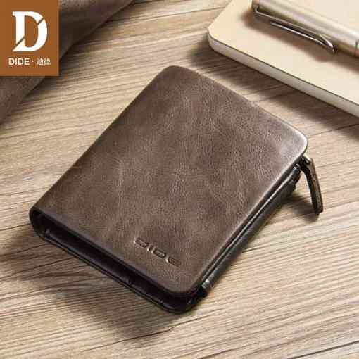 DIDE New 100% genuine leather wallets for men purse Vintage Small Wallet Male Card Holder Tri-fold Zipper Coin Purse DQ595 Men Men's Bags Men's Wallets