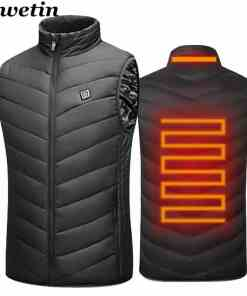 2020 Men Outdoor USB Infrared Heating Vest Jacket Men Women Winter Electric Thermal Clothing Waistcoat For Sports Hiking Men Men's Clothings Men's Sweaters/Coats/Jackets