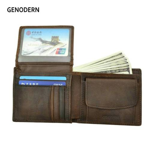 GENODERN Cow Leather Men Wallets with Coin Pocket Vintage Male Purse Function Brown Genuine Leather Men Wallet with Card Holders Men Men's Bags Men's Wallets