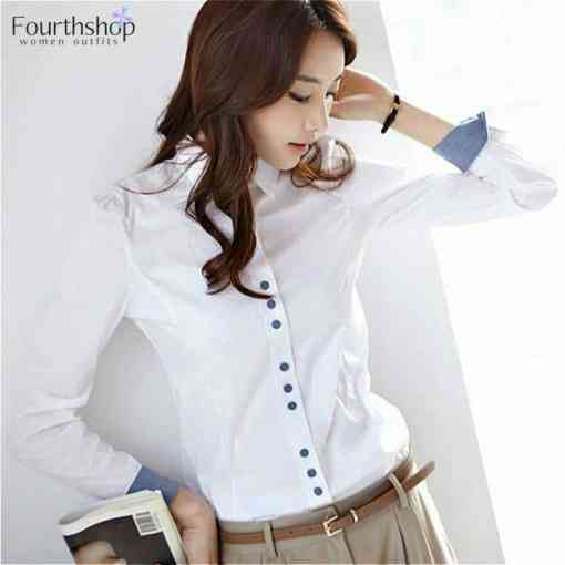 White Blouses and Tops Women Turn Down Collar Long Sleeved Office Work Formal Blouse Shirt Female Plus Size XXXL XXL 2020 Autumn Women Women's Blouses Women's Clothings
