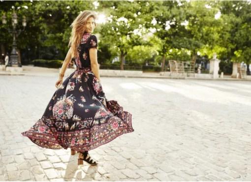 Women's Boho V-Neck Printed Dress