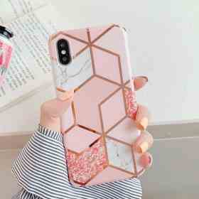 LOVECOM Plating Geometric Phone Case For iPhone 12 Mini 11 Pro Max XR XS Max 6 7 8 Plus X Soft IMD Marble Phone Back Cover Cases Cellphones & Telecommunications iPhone Cases/Covers Mobile Phone Accessories Phone Covers