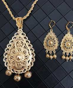 Luxury Dubai Jewelry Necklace Sunflowers Pendent Bistratal Long Chain Necklace And Earrings Gifts Flower Hollow Pendents Women Women's Accessories