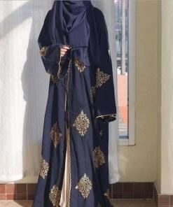 Ramadan golden line embroidery kimono muslim Abaya Hijab Muslim Dress female big swing Islamic Kaftan Robe Musulman Abayas F1408 Women Women's Abaya Women's Clothings