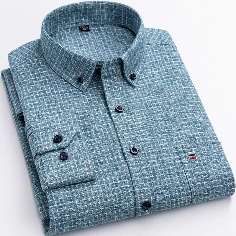 100% Pure Cotton 7XL 6XL Long Sleeve Shirt Plaid Business Slim Fit Shirt Men Casual Korean Clothes Oversized Button Up Shirt Men Men's Clothings Men's Shirts Men's Tops