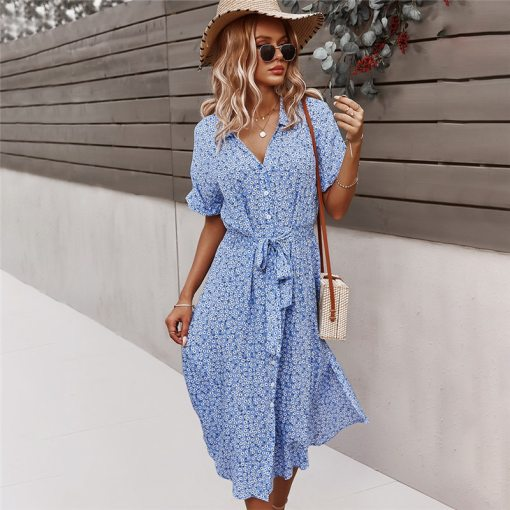 2021 Spring New Bandage Dress Women Casual Short Sleeve Button Floral Print Dress For Woman Summer Holiday Style Dress Women Women's Blouses Women's Clothings