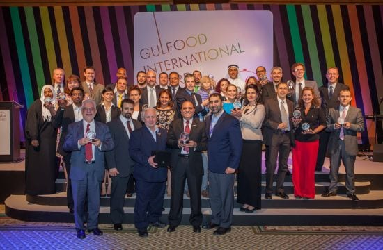 Award winner for best new frozen or chilled food: Midamar Corporation – Oven Roasted Turkey Breast. Yahya, Bill and Jalel Aossey in the front row with their local agent holding the Gulfood Award.