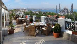 Deluxe Goldenhorn Hotel - Rooftop terrace with Blue Mosque & Bosphorus views