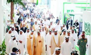 Sheikh Hamdan bin Rashid Al-Maktoum, deputy ruler of Dubai and minister of finance and industry, is guided through Gulfood 2015 by Helal Saeed Al-Marri, director general, Department of Tourism & Commerce Marketing.