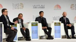 Dustin Craun, Yusuff Ali M.A., Sheikh Muszaphar Shukor, Amin Osmancevic during a panel discussion at the Forum in Dubai on Wednesday.