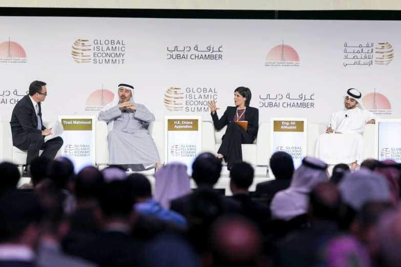 Tirad Mahmoud, Group chief executive of Abu Dhabi Islamic Bank, left, Chiara Appendino, Mayor of the City of Turin and Ali Al Nuaimi, Senior Nuclear Professional and Member of the Emirates Youth Council, at the first plenary Session of the Global Islamic Economy Summit 2016. Reem Mohammed / The National