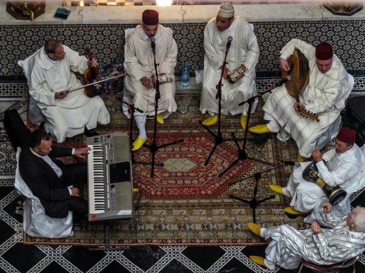 Image 18, 8 May 2016 - Upon the roof terrace of Palais Mnebhi, traditional Moroccan musicians can be seen and heard from the courtyard