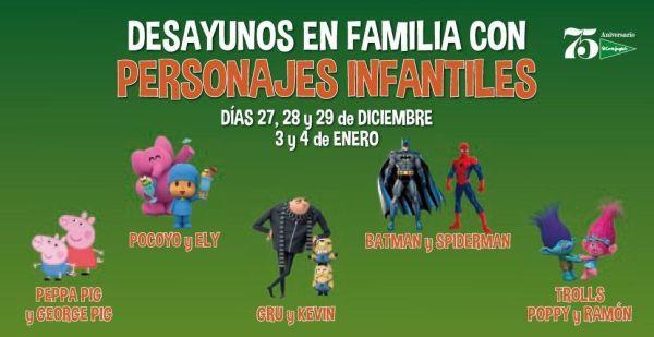 Desayunos infantiles en El Corte Inglés con personajes infantiles