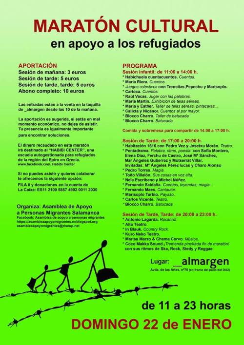 II Maratón Cultural en apoyo a los refugiados el 22 de enero en Al Margen Salamanca