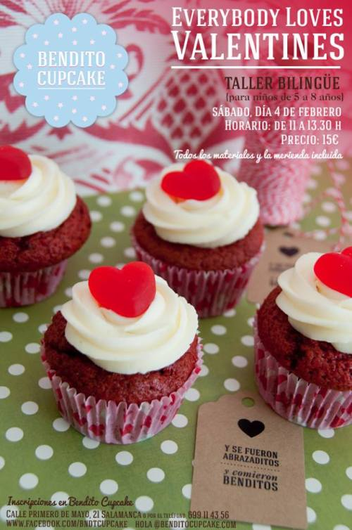 Taller bilingüe infantil por San Valentin en Bendito Cupcake