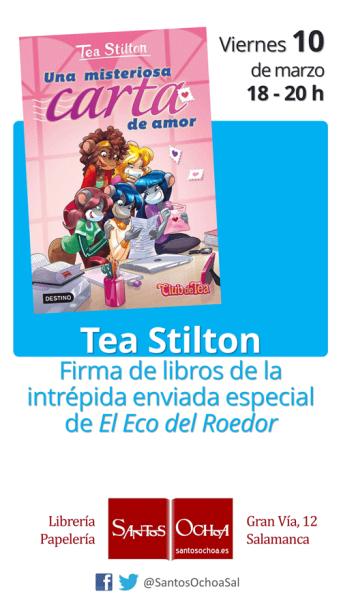 Tea Stilton firma sus libros en la librería Santos Ochoa de Salamanca