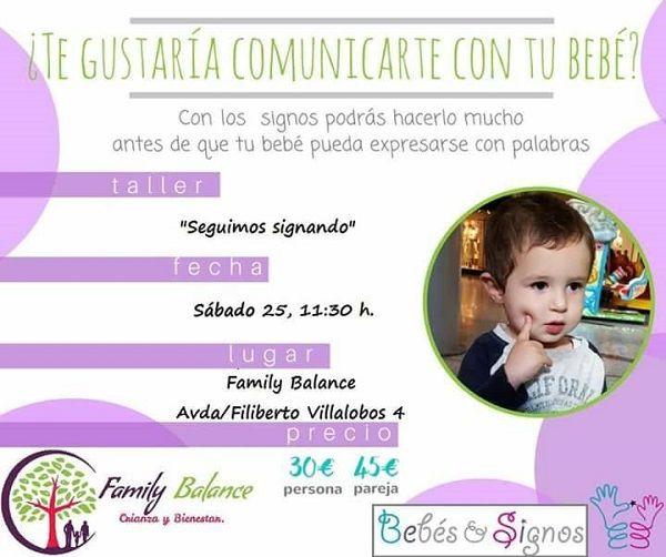 """Taller """"Seguimos signando"""" en Family Balance con Noelia de Bebés&Signos"""
