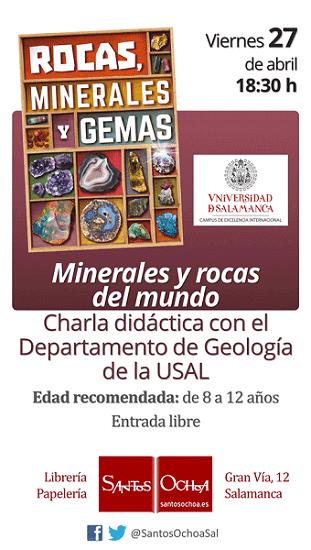 """Charla didáctica """"Minerales y rocas del mundo"""" en la librería Santos Ochoa"""