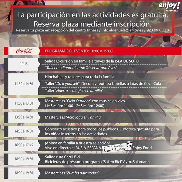 Programa del Family Day Coca Cola en Enjoy Aldehuela