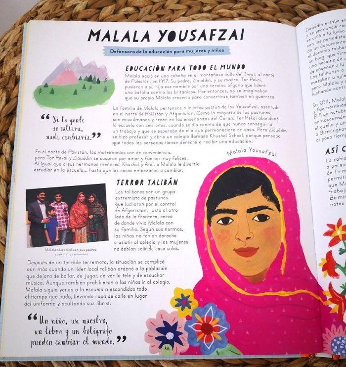 """Encontrarás a Malala Yousafzai en el apartado """"Ten esperanza y lucha"""""""