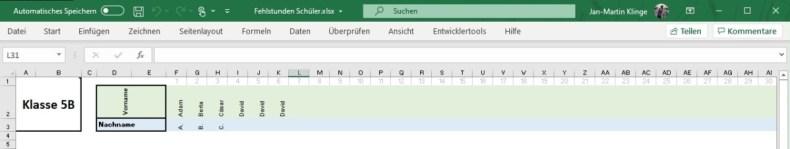 Anwesenheit in der Schule mit Excel festhalten 1