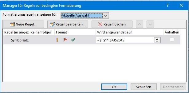bedingte Formatierung mit Excel