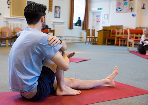 Young offender yoga class