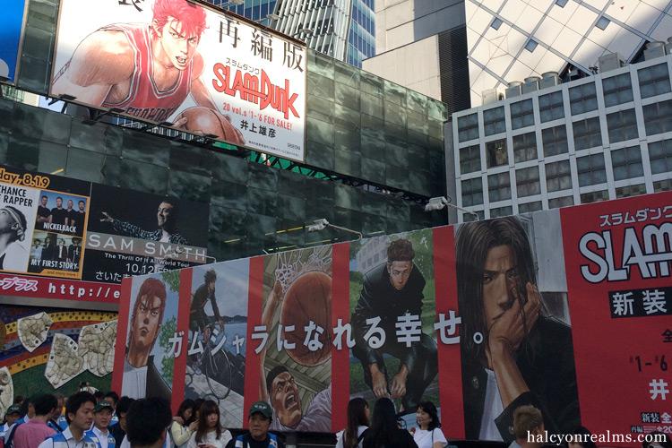 Giant Slam Dunk Billboards in Shibuya, Tokyo. June 2018.