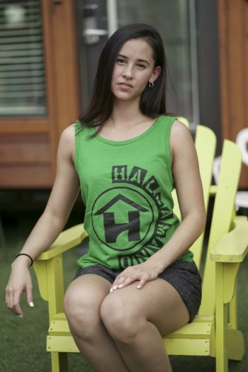 Green tank top - half circle design