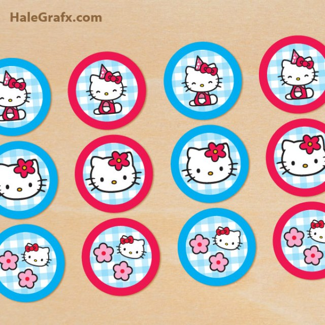 Free hello kitty party printables little wish parties for Hello kitty cupcake topper template