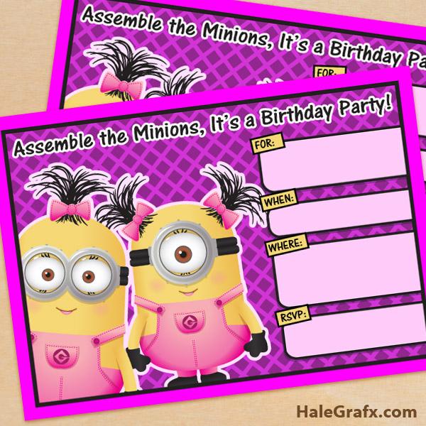 girl minion birthday invitation