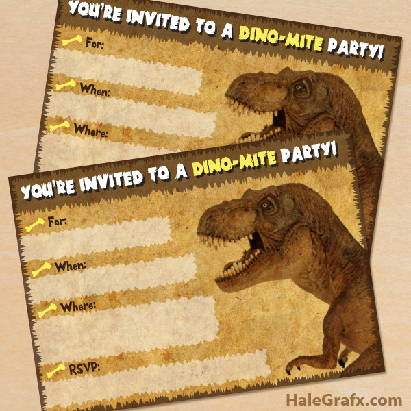 free printable dinosaur t rex party