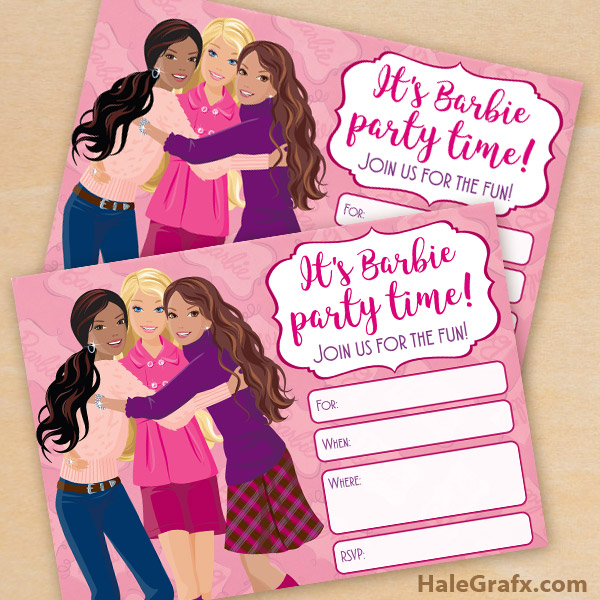 free printable barbie birthday party