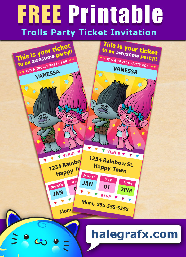 free printable trolls ticket party