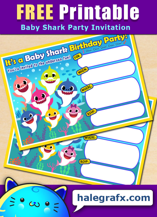 FREE Printable Baby Shark Birthday Invitation