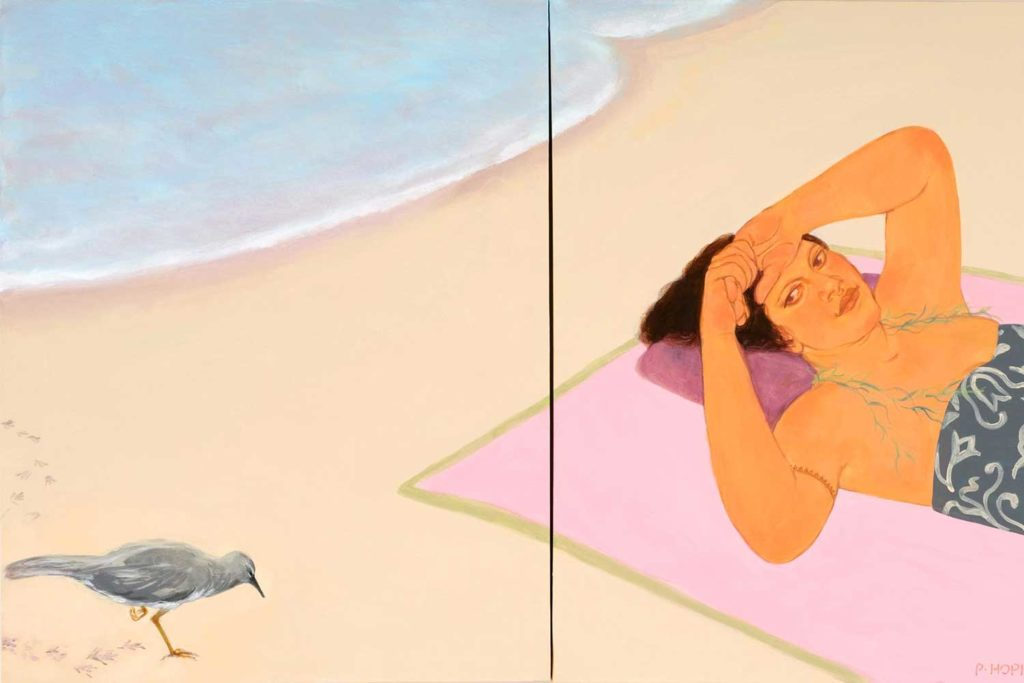 painting of woman laying on beach looking at bird by Pegge Hopper