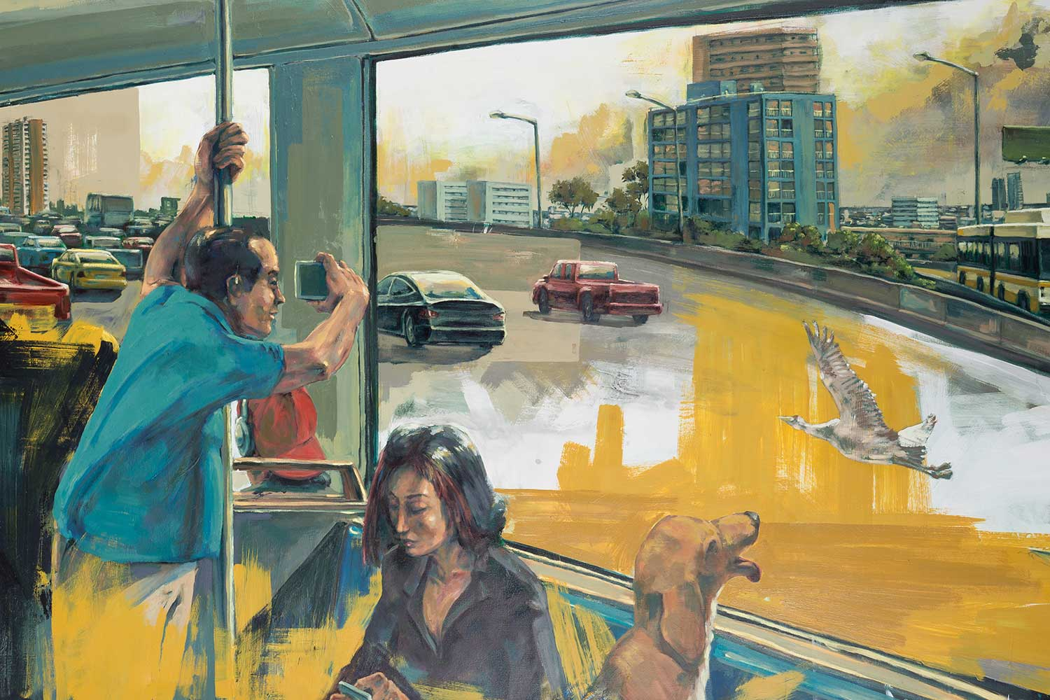 Oil painting of people in bus looking out at a cityscape