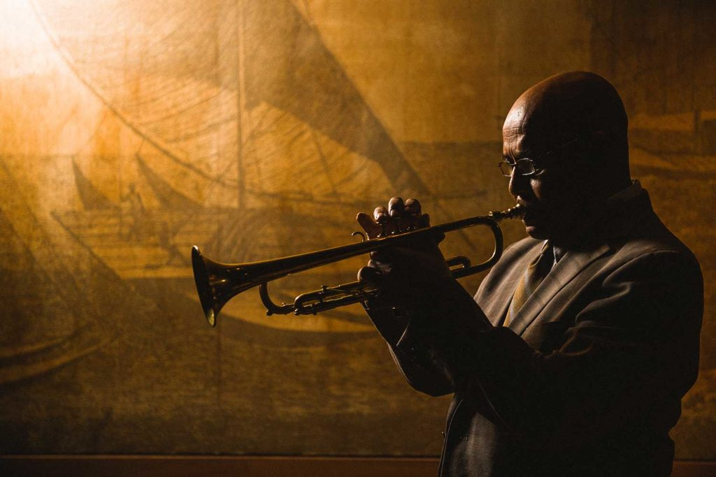 Eddie Henderson playing the trumpet