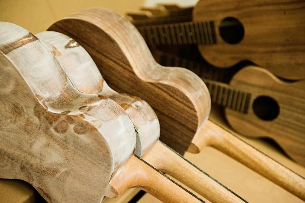 Kamake wood ukuleles in production