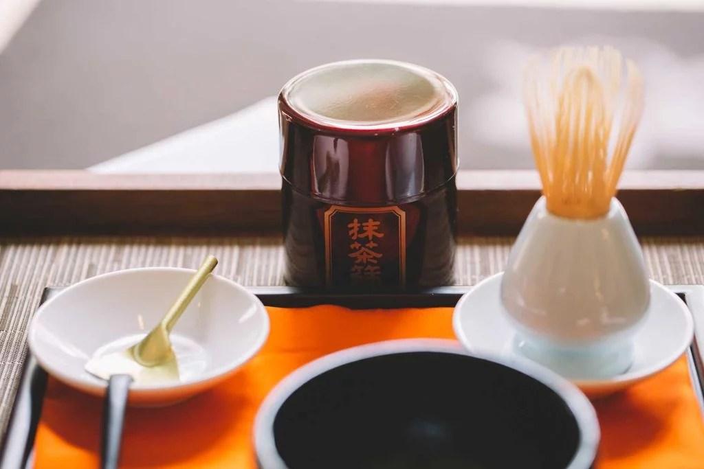 Japanese Matcha tea set on tray