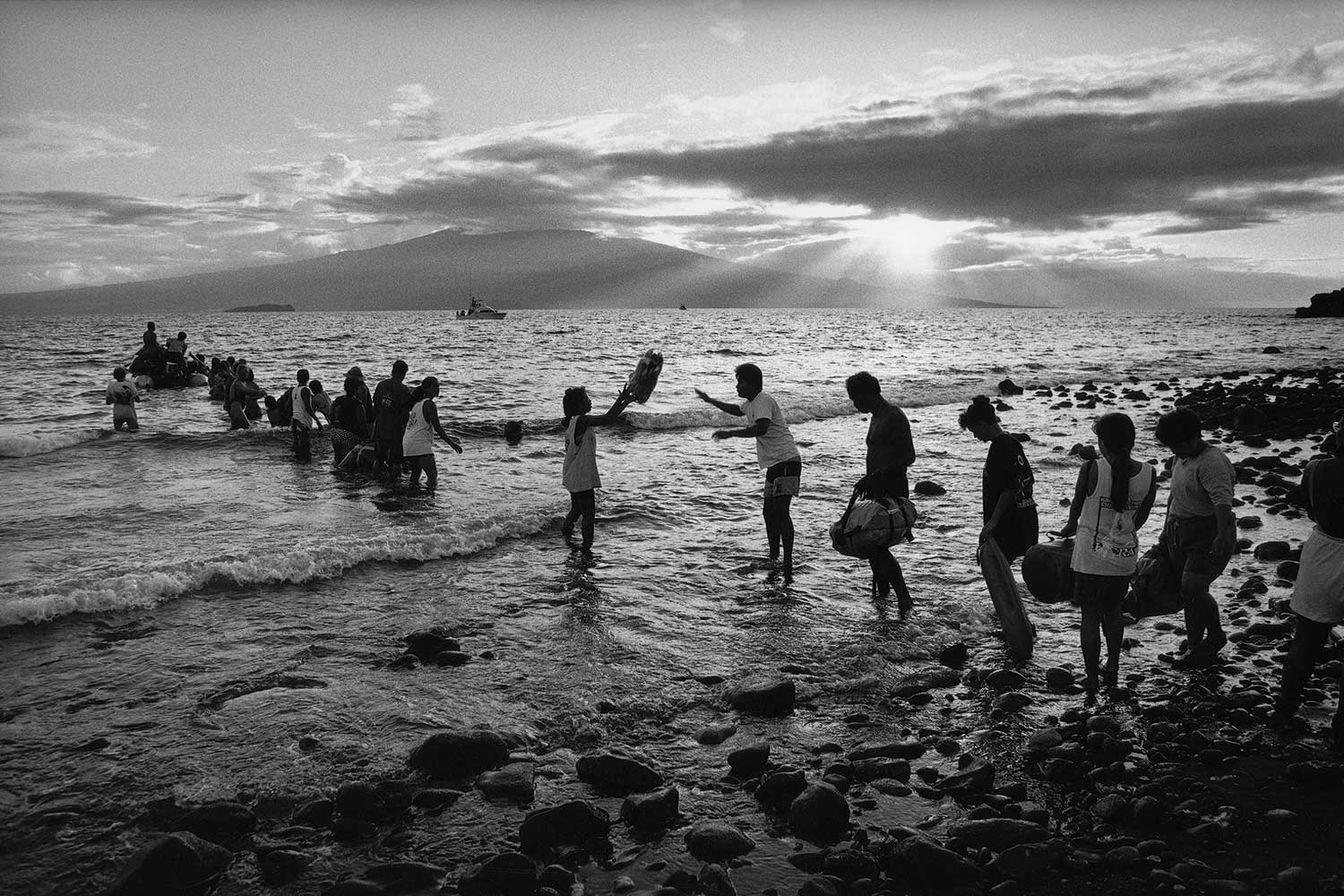 Black and white photo of Native Hawaiian activists