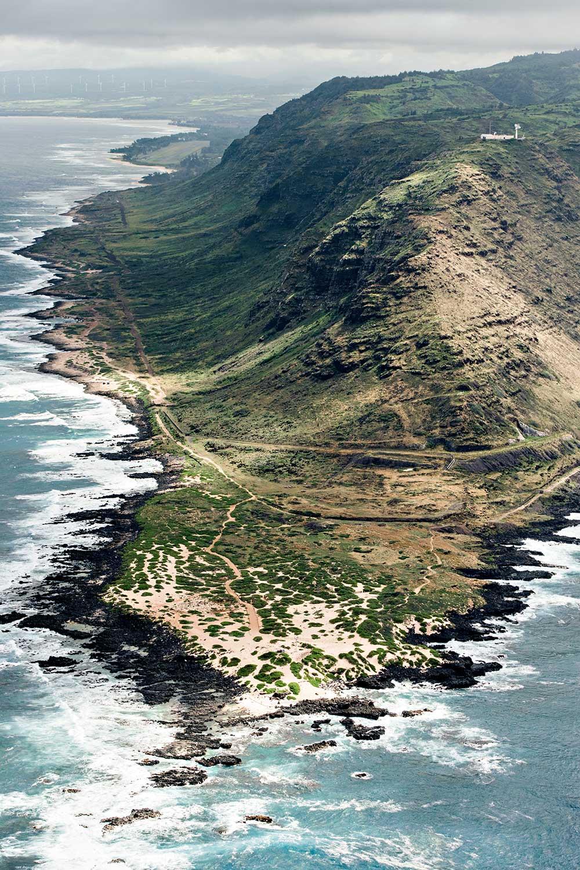 Aerial view of Kaena Trail