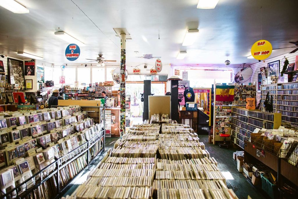 inside of large record store