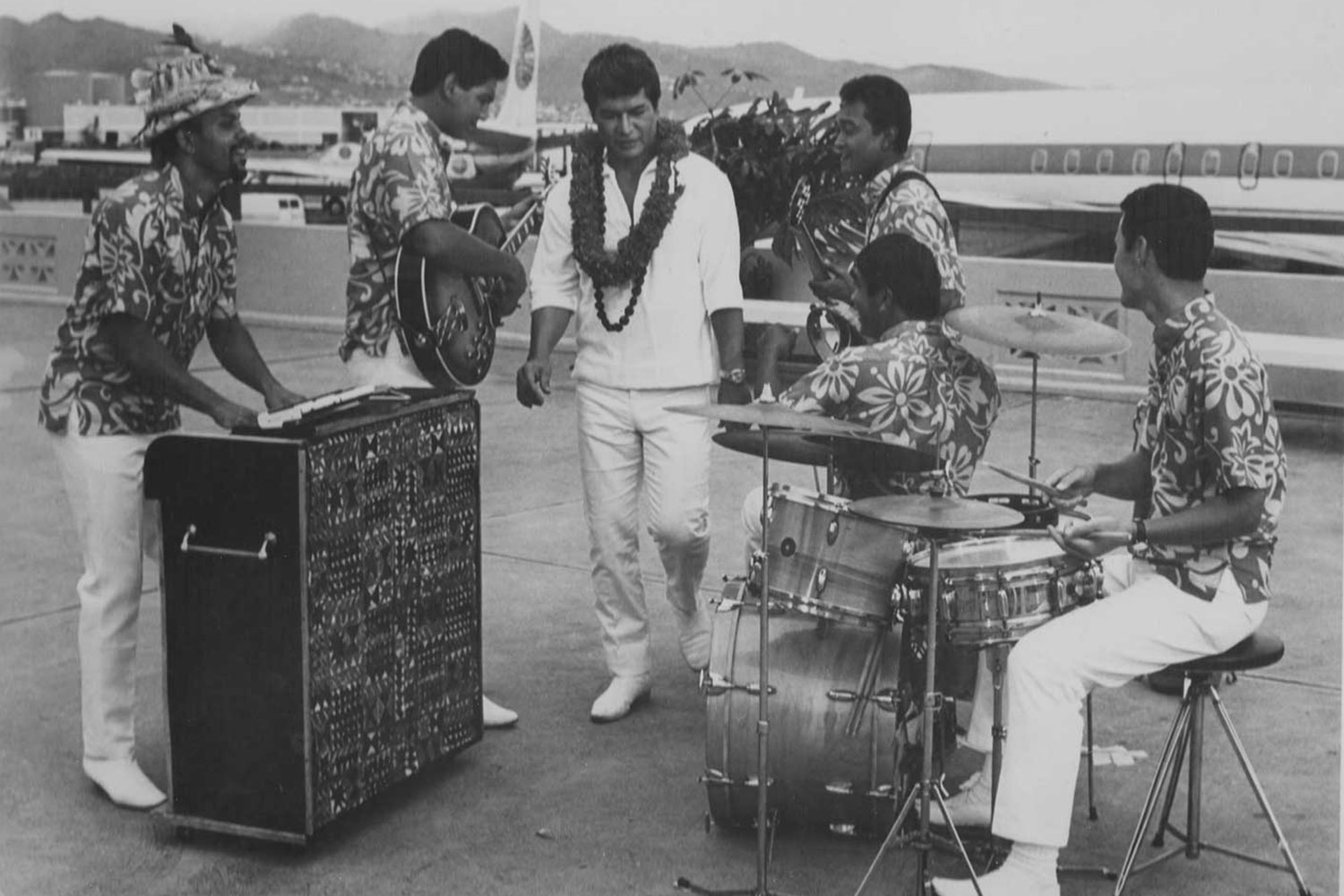 Black and white photo of Don Ho and The Aliis band