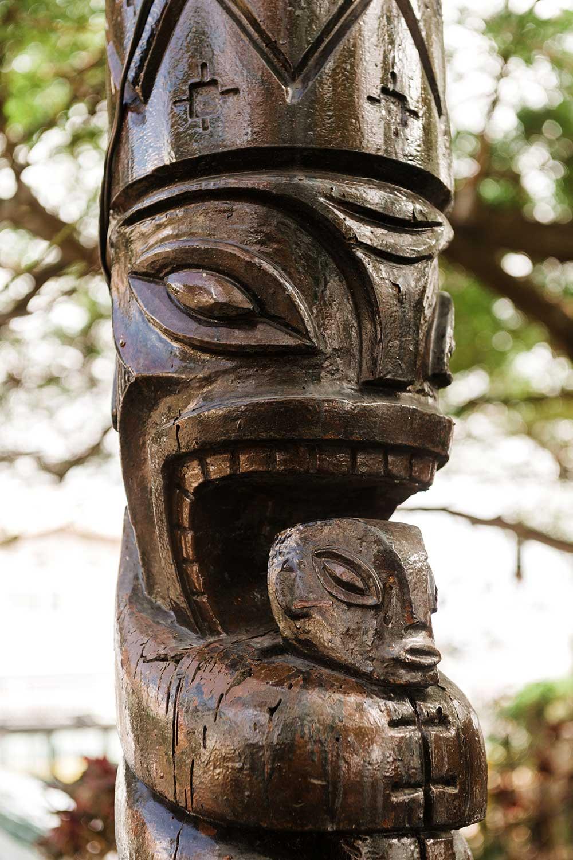 Brown Wooden Tiki Carving