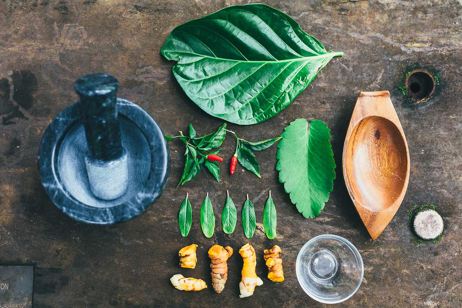 Traditional Hawaiian medicinal plants and tools