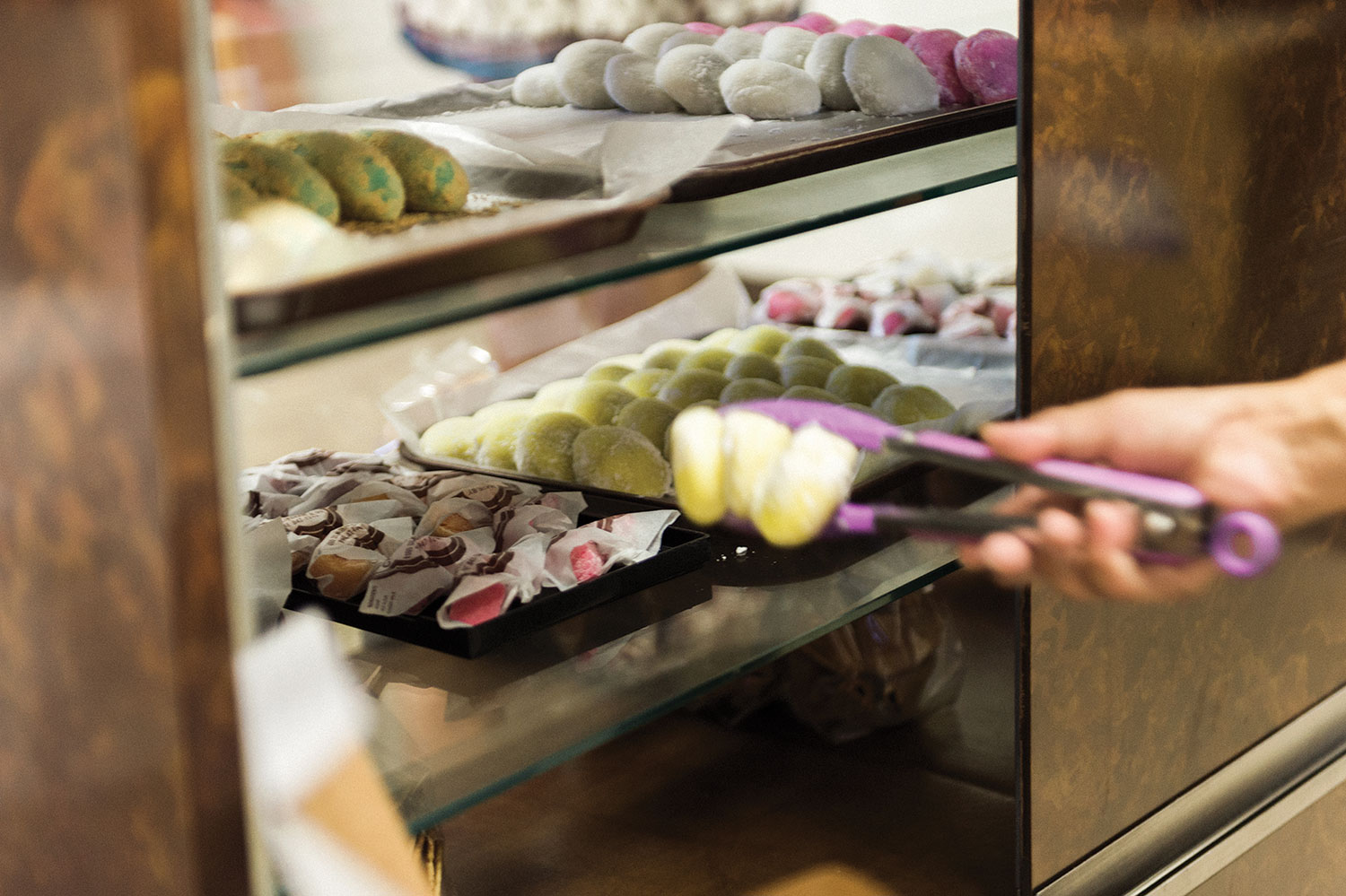 Showcase of different colored mochi at Nisshodo