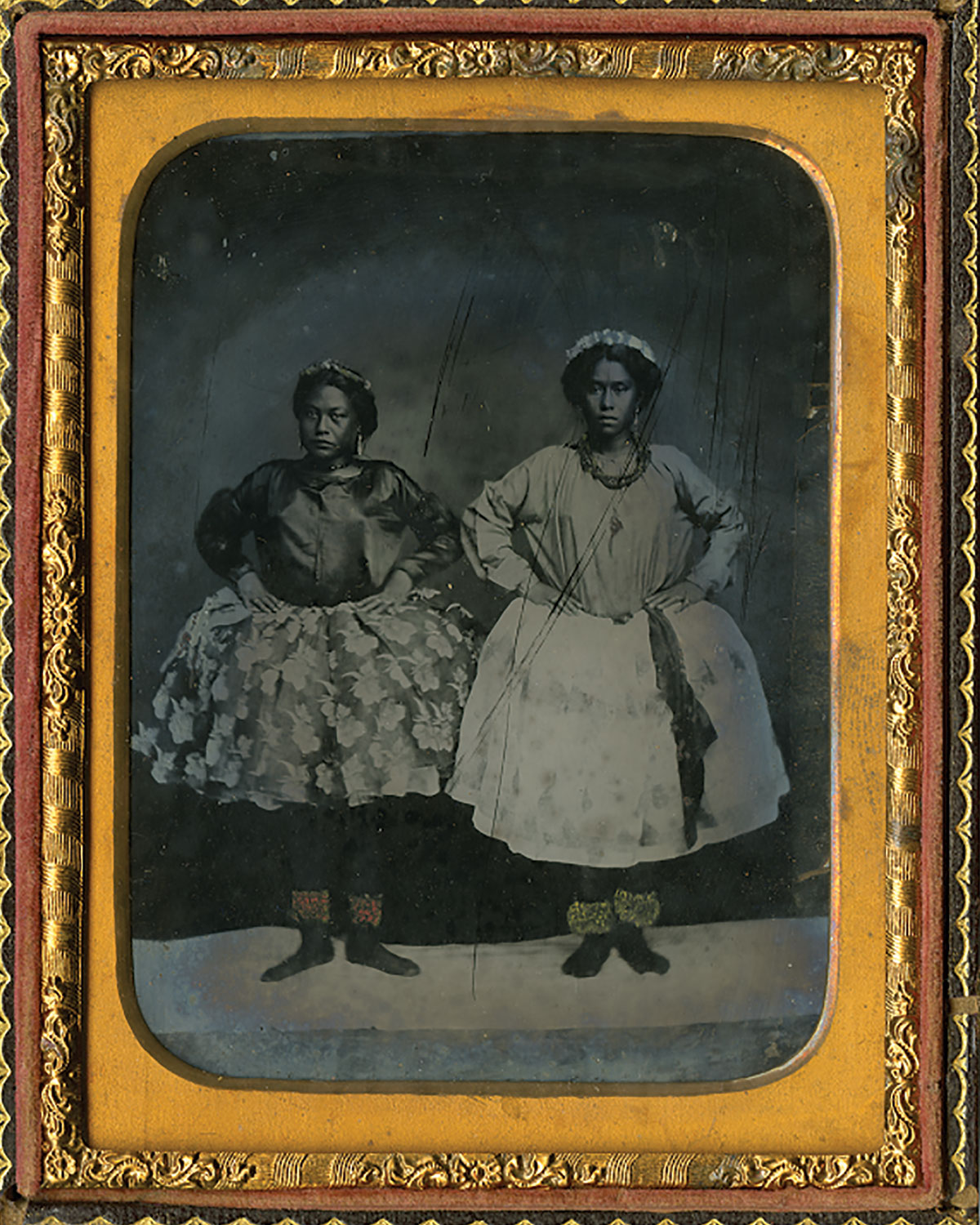 Two female hula dancers; Hawaiʻi, c. 1858.